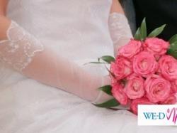 Ślubne koronkowe białe rękawiczki