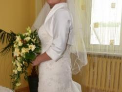 Śmietankowa suknia ślubna SYRENKA Ms Moda 38/40