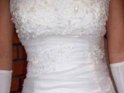 Śmietankowa suknia z lekkim trenem r 32/34 z możliwością poszerzenia