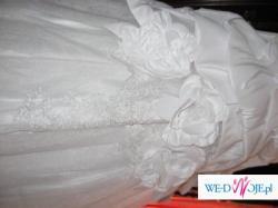 Śnieżno-biała suknia ślubna + dodatki gratis