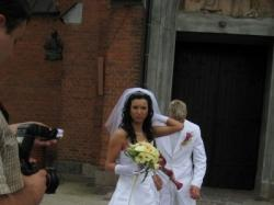 Śnieżnobiała ,śliczna,suknia ślubna HERM'S DECOR z trenem!!!!