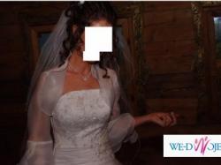Śnieżnobiała suknia ślubna 36/38+dodatki