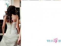 śnieżnobiała suknia ślubna, r.36