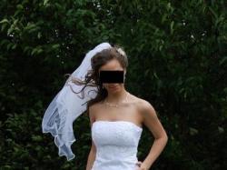 Sprzedam biala dwuczesciowa suknie slubna cena 900zl do negocjacji