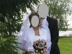 Sprzedam białą suknię ślubną dwu częściową z tafty z lekkim połyskiem