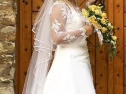 Sprzedam białą suknię ślubną z białą koronką-RAZ UŻYWANA!Rozm.40/42,GRATISY!!!