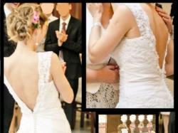 Sprzedam Białą Suknię Ślubną z dekoltem z tyłu, rozm. 36