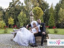 Sprzedam elegancką suknię ślubną - model francuski z włoską koronką