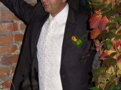 sprzedam ładną ecru kamizelkę ślubną i musznik