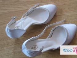 sprzedam modne białe buty ślubne w rozmiarze 39