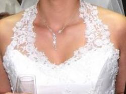 Sprzedam piękną i delikatną suknię ślubną- biała tafta i koronka, rozm.38/40