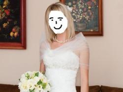 Sprzedam piękna suknię ślubną ecru w literkę A, 165+8 , roz 36-38