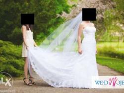 Sprzedam piękną suknię ślubną koronkową z trenem