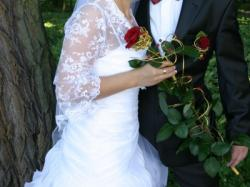 Sprzedam przepiękną suknię ślubną + dodatki