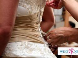 Sprzedam przepiękną suknię ślubną ecru