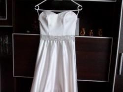 Sprzedam przepiękną suknię ślubną, krótki przód, ecru