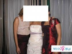 Sprzedam sliczna nietypowa suknie slubna ecru-fiolet