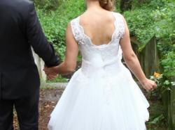 Sprzedam śliczną sukienkę ślubną przed kolanko