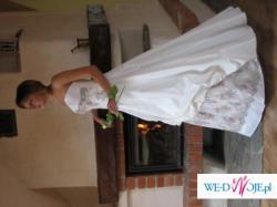 Sprzedam śliczną suknię ślubną dwuczęściową rozm 38/40 pierwsza właścicielka