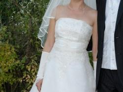 Sprzedam śliczną suknię ślubną + rękawiczki do kompletu