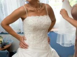 Sprzedam śliczną suknię ślubną sprowadzoną z USA ANJOLIQUA 38 ecru - ivory