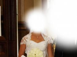 Sprzedam śliczną tiulową suknię ślubną+bolerko+kolczyki!!!
