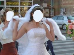 Sprzedam śnieżnobiałą suknię ślubną, bolerko GRATIS!!!