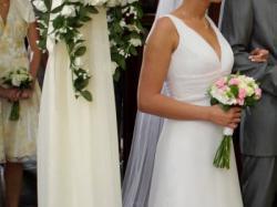 Sprzedam subtelną suknię ślubną z trenem - okazja!!
