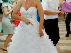 Sprzedam suknię ślubną 38 biała falbany+ gratisy