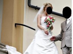 Sprzedam suknię ślubną ANNAIS ESTA kolor śmietankowy, rozmiar 36/38, wzrost 174