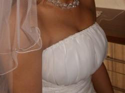 SPRZEDAM suknię ślubną jednoczęściową z trenem  (biała) La marietta