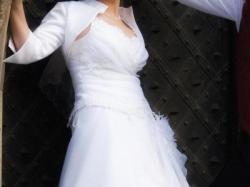 Sprzedam suknie ślubną (sznurowany gorset, spódnica, bolerko)