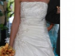 Sprzedam suknię ślubną w kolorze ecru wraz z halką i welonem