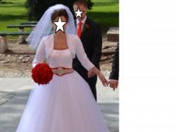 Sprzedam suknię ślubną z czerwonymi akcentami