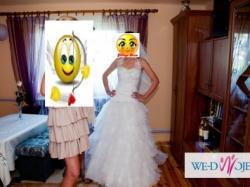 Sprzedam suknię ślubną z delikatnymi falbankami