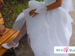 Sprzedam suknię śnieżnobiałą suknię slubną z trenem + GRATISY. rozm38-40