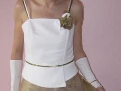 sprzedam tanio 250 zł piękną biało-złotą suknię ślubną