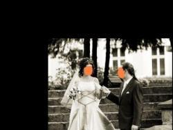 Średniowieczna suknia ślubna, zwiewne rękawy, nietypowy odpinany tren
