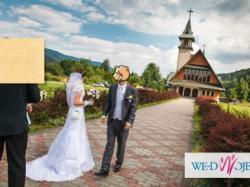 Stylowa suknia ślubna koronka z USA podpinany tren roz M