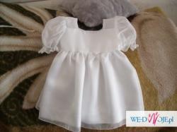 Sukienka do chrztu rozmiar 62 cm + czapka i buty !!! — Wrocław