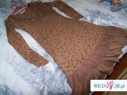 sukienka M/L może być do 7 m-ca ciązy lub bez brzuszka.brązowa