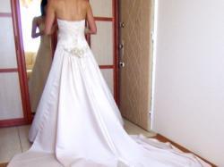 Sukienka śłubna ecru z długim tiulem