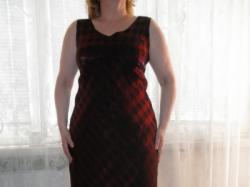 Sukienka w bordowo - czarną kratkę