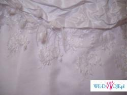 suknia 36/38 biała jednoczesciowa bolerko koronka