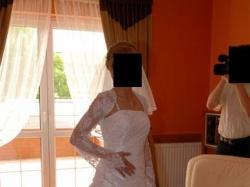 suknia biała jednoczęściowa koronka bolerko 36/38