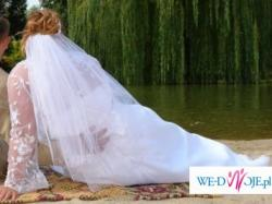 suknia biała z różowymi dodatkami rozmiar 48