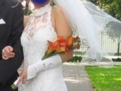 suknia cała z hiszpańskiej koronki ecru rozm. 36