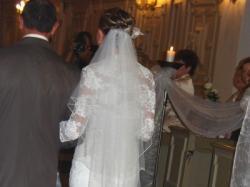 Suknia Demetrios, rybka, koronka, welon + bolerko