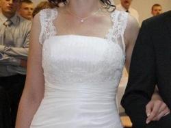 Suknia Gala/Danalea, biała tafta, rozm.40, 174cm.