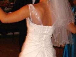 suknia Isabel de Mestre+2 welony+ kamizelka i musznik dla Pana Młodego